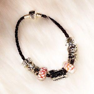 PANDORA Charm Leather Bracelet